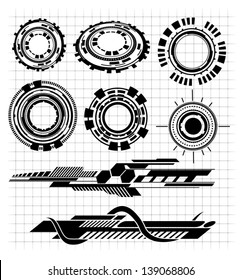 various Technological futuristic contemporary shapes