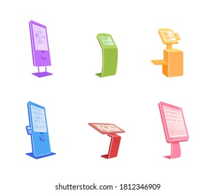 Various terminals flat color vector object set. Digital automats with touch screens. Self serving kiosk isolated cartoon illustration for web graphic design and animation collection
