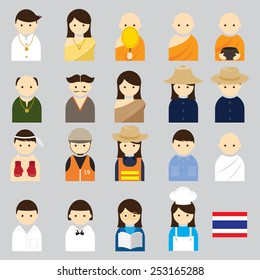 Various Thai People Occupation Character Icons Set