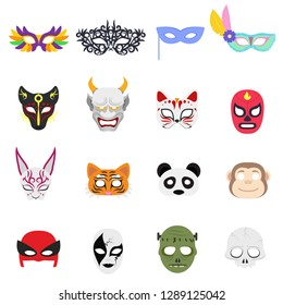 Various themed masks on the face. Mask for party, holiday, carnival, animals, set of isolated objects. Vector illustration