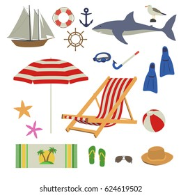 Various things needed in the summer on the sea beach