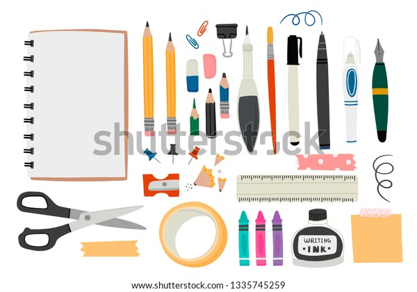 Various tools for drawing or sketching. Hand drawn big vector set. Sketchbook, crayons, pencil, eraser, pen, marker, ruler, scissors, ink, etc. Colored trendy illustration. All elements are isolated
