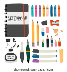 Various tools for sketching. Hand drawn vector set. Sketchbook, crayons, pencil, eraser, pen, marker, ink etc. Colored trendy illustration. All elements are isolated