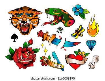 Various traditional style tattoos. Hand drawn colored vector set. All elements are isolated