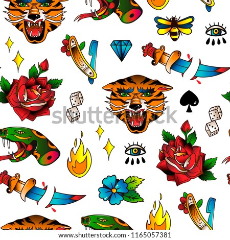 Various Traditional Style Tattoos Hand Drawn Stock Vector Royalty
