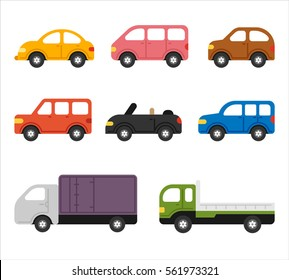 Various transportation means car vector illustration flat design