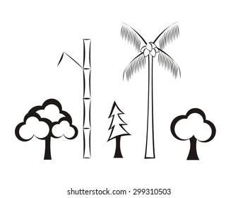 various tree simple illustration