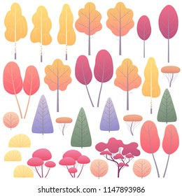 Various trees and bushes set. Simple autumn plants isolated on white. Landscape element design. Vector flat illustration.