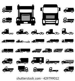 Various truck silhouettes