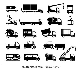 Various truck silhouettes - Vector