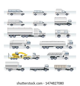 Various trucks set vector icon