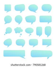 Various turquoise speech bubbles set. Vector illustration