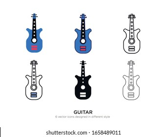Various type of guitar set with the same frame types vector Illustrations