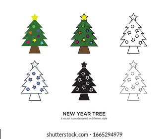 Various type of new year tree set with the same frame types vector Illustrations