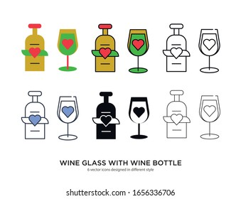Various type of swine glass with wine bottle set with the same frame types vector Illustrations