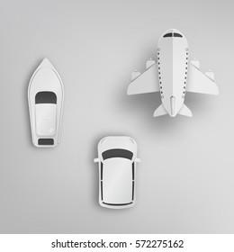 Various Type Of Transportation Paper Art Vector Illustration