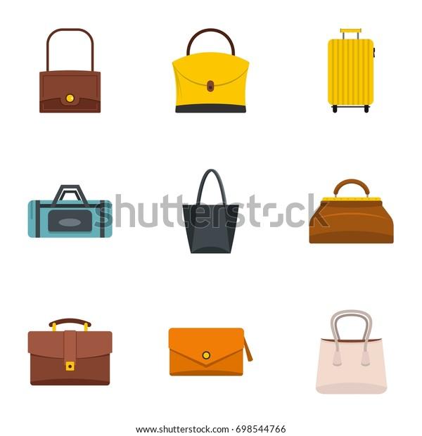 Various types of bags icon set. Flat style set of 9 various types of bags vector icons for web isolated on white background