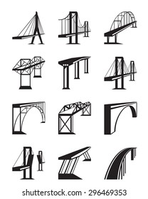 Various types of bridges in perspective - vector illustration