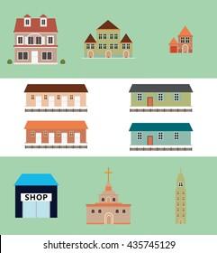 Various types of buildings