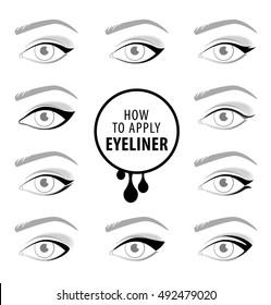 Various types of eyeliner, vector set