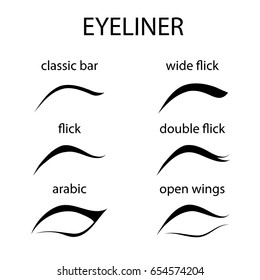 Various types of eyeliner, vector set.  Eyeliner shape tutorial  isolated on white background. Beauty article, magazine, book.