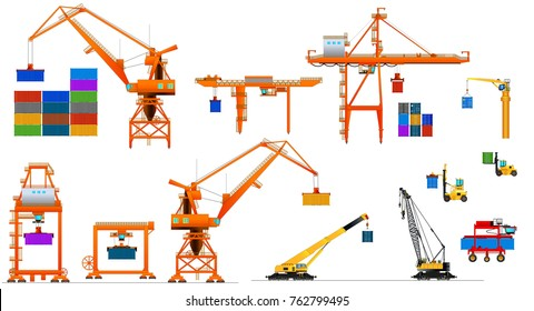 Various types of harbor cargo cranes. Set of shipping port equipment. Vector illustration, isolated on white.