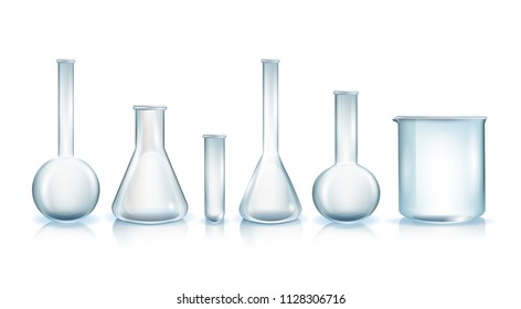 Various Types of Laboratory Glassware Realistic Vector Illustration Set Isolated on White Background. Lab Tubes, Beakers and Flasks for Chemical, Medical, Biological Tests and Scientific Researches