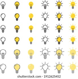 Various types of light bulb icons, vector