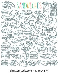 Various types of sandwiches - club sandwich, cheeseburger, hamburger, falafel in pita, shawarma, deli wrap, roll, taco, baguette, panini, bagel, toast. Outline drawing isolated on white background.
