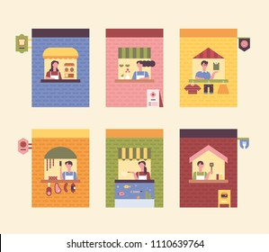 Various types of small stores and clerks. flat design style vector graphic illustration set
