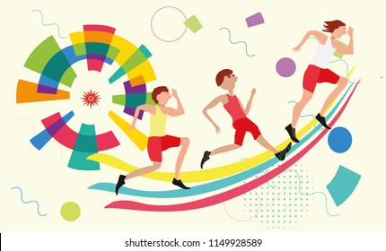 various types of sport competition 2018 with Racer, Runner, Player .Banner Flyer Brochure Fat design style vector.  sport celebration game party oympic every four years