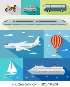 Various types of transport: car, bus, train, airoplane, air baloon, sailing boat, ship with long shadow effect. Vector set of different means of transportation.