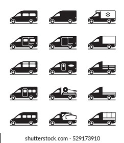 Various types of vans and pickups - vector illustration