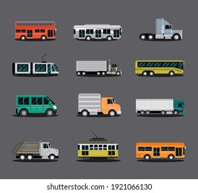 various types of vehicles, car, truck, van, bus, truck and trailer, side view vector illustration