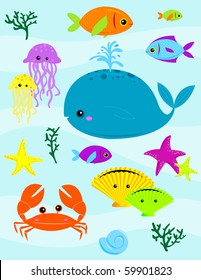 Various underwater creatures - VECTOR (raster image also available; please see my portfolio)
