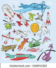 various unique and funny airplane icons. created with a handwriting vector template