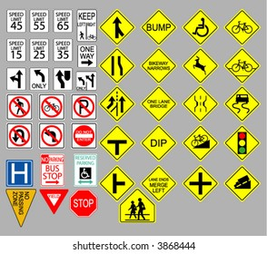 Various United States road signs