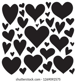 Various Valentines heart shapes in different sizes