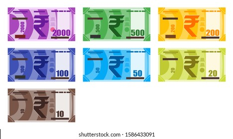 Various value of Indian Rupee INR banknotes money vector icon logo illustration and design. India currency, business payment and finance element. Can be used for web, mobile, infographic, and print.