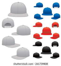 Various vector hats in all positions