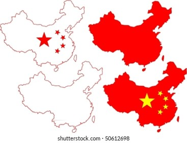 Various Vector Illustrations of China with Stars from the Flag