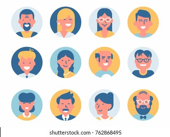 Various vector round abstract avatar icons. Different characters portraits. Ideal for social media and business presentations, UI, UX, graphic and web design, applications and interfaces