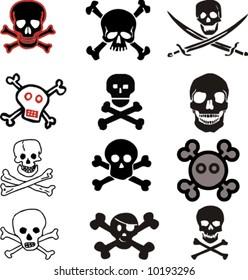 various vector skulls and crossbones design