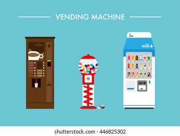 Various vending machines vector illustration