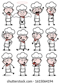 Various Vintage Cartoon Chef Poses - Set of Concepts Vector illustrations