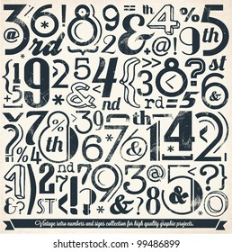 Various Vintage Number and Typography Collection. For High Quality Graphic Projects.