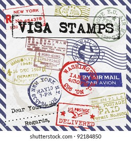 Various Visa Stamps Background