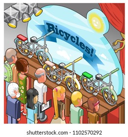 Various visitors looking at bicycles presented on a stage during an event, vector cartoon in isometric view