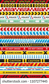 Various warning tapes isolated set. Caution, biohazard, danger, radiation, police, crime scene, novichok, stop, caution, construction zone text. Traffic and people safety elements vector illustration.