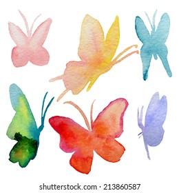 Various watercolor hand drawn butterflies collection - vector eps10
